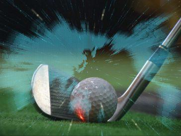 世界地図とゴルフボール